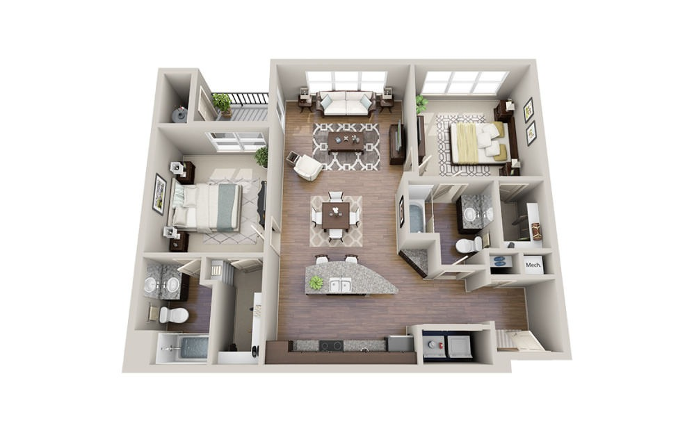Benetton - 2 bedroom floorplan layout with 2 baths and 1079 square feet.