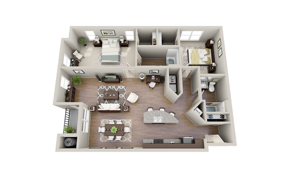 Blanc - 2 bedroom floorplan layout with 2 baths and 1308 to 1322 square feet.