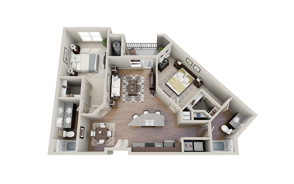 Brooks - 2 bedroom floorplan layout with 2 baths and 1135 square feet.