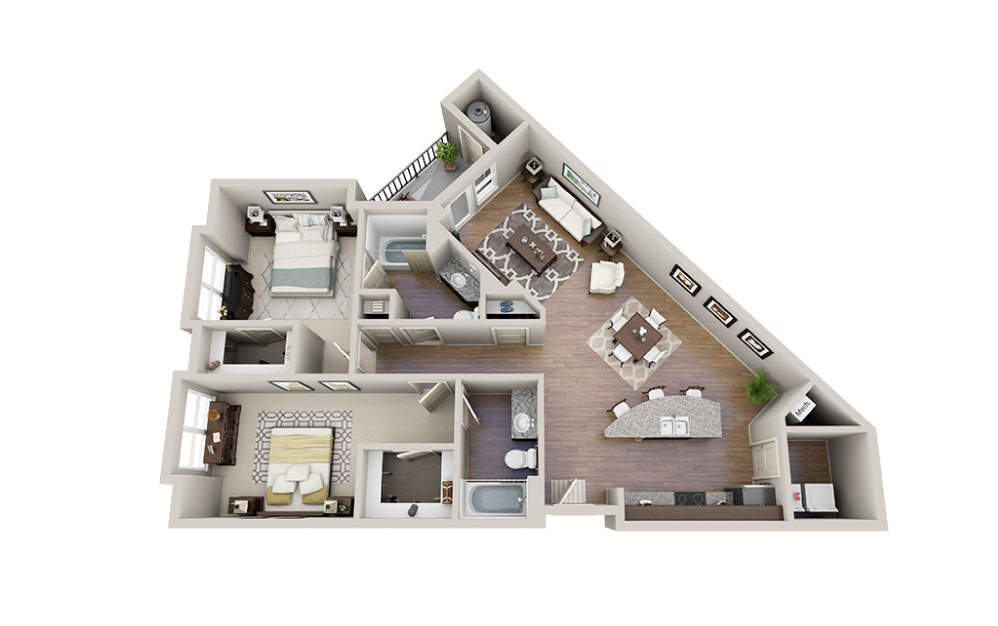 Brooks-A - 2 bedroom floorplan layout with 2 baths and 1135 to 1171 square feet.