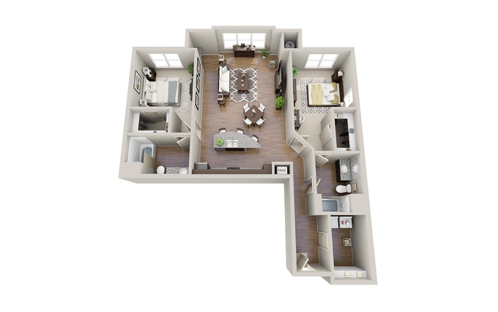 Cole - 2 bedroom floorplan layout with 2 baths and 1299 to 1353 square feet.