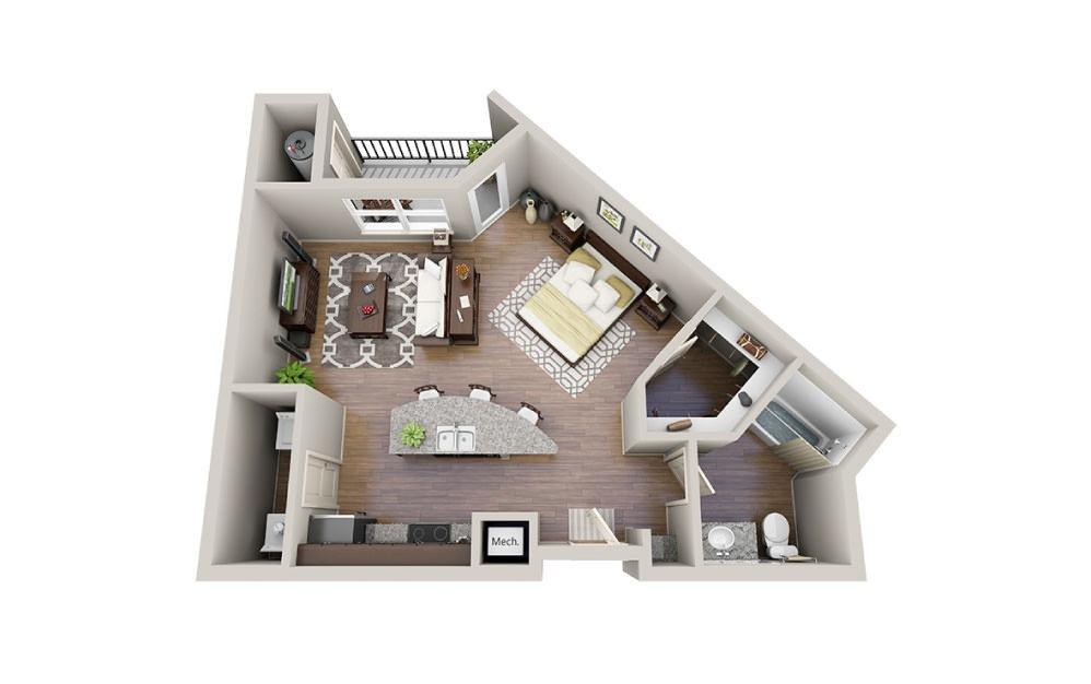 Crew - Studio floorplan layout with 1 bath and 620 square feet.