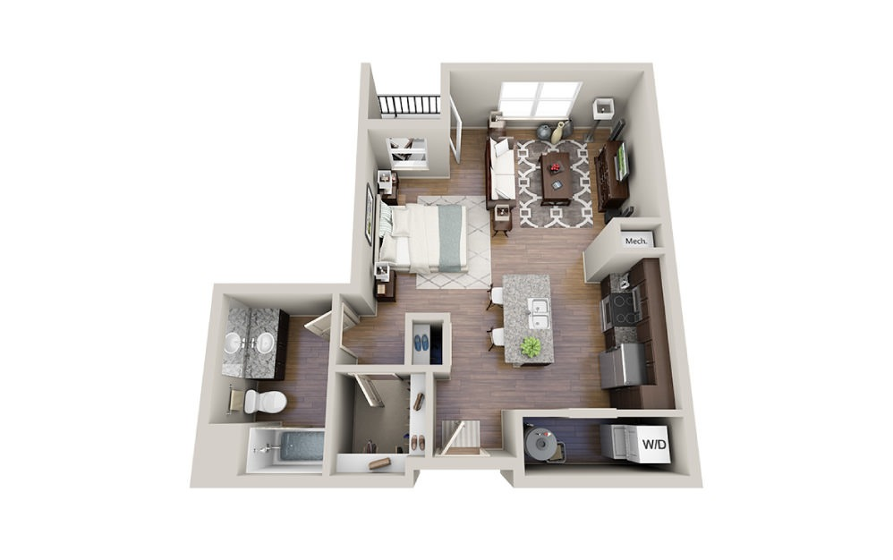 Crew-A - Studio floorplan layout with 1 bath and 641 square feet.