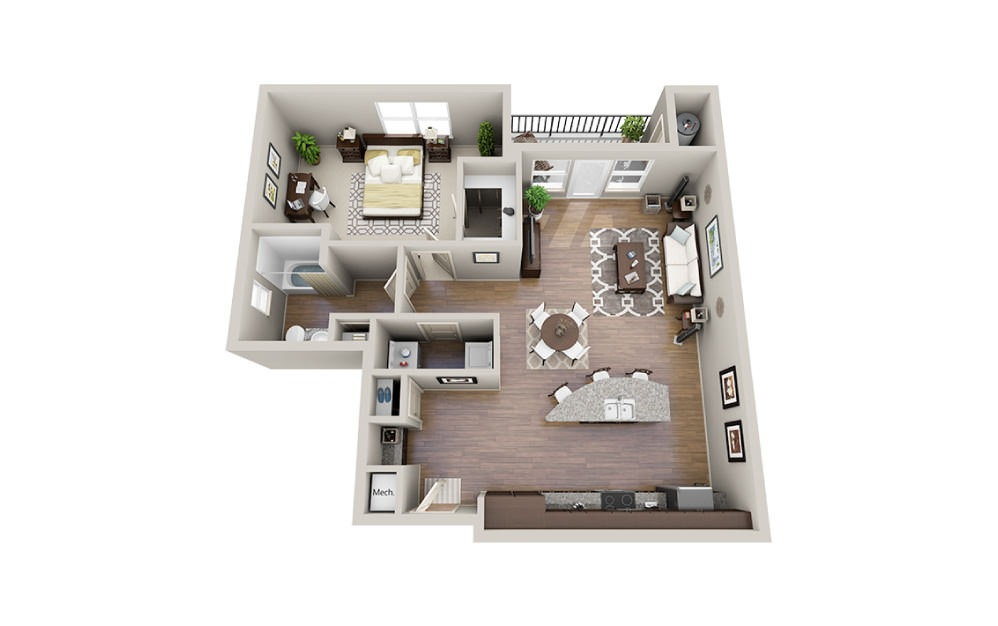 Jack - 1 bedroom floorplan layout with 1 bath and 955 square feet.