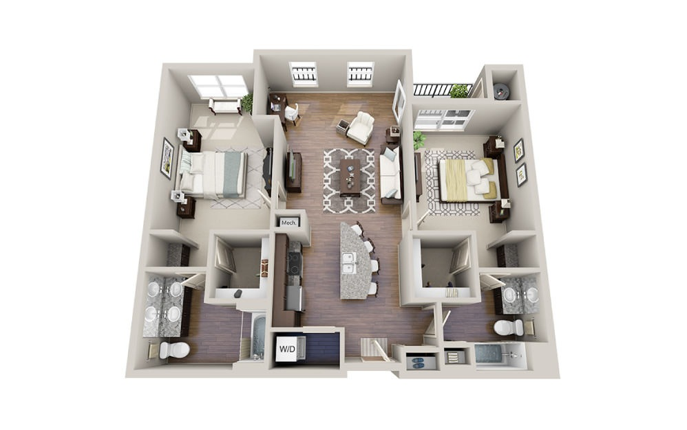 Johnston - 2 bedroom floorplan layout with 2 baths and 1272 to 1289 square feet.