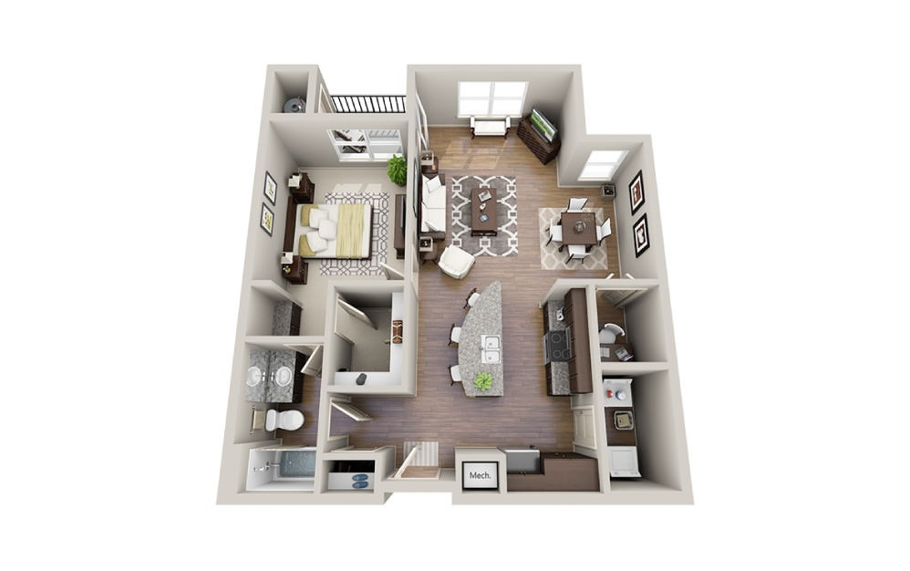 Kate - 1 bedroom floorplan layout with 1 bath and 779 to 922 square feet.