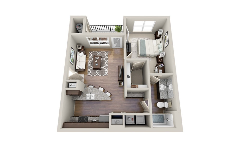 Lily - 1 bedroom floorplan layout with 1 bath and 675 square feet.