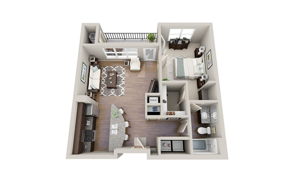 Louis - 1 bedroom floorplan layout with 1 bath and 734 square feet.