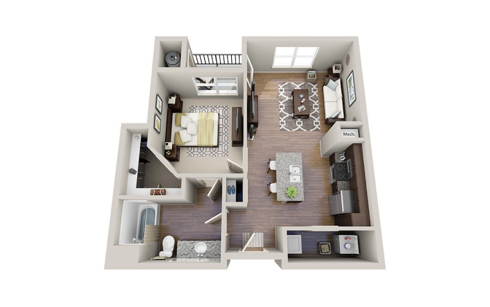 Louis-A - 1 bedroom floorplan layout with 1 bath and 736 square feet.