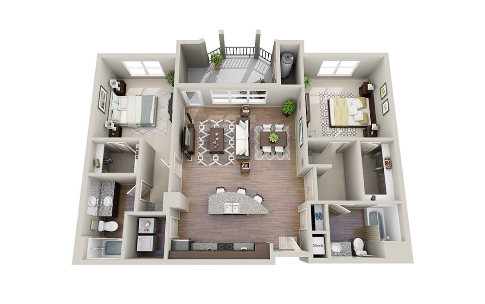 Murphy - 2 bedroom floorplan layout with 2 baths and 1266 to 1289 square feet.