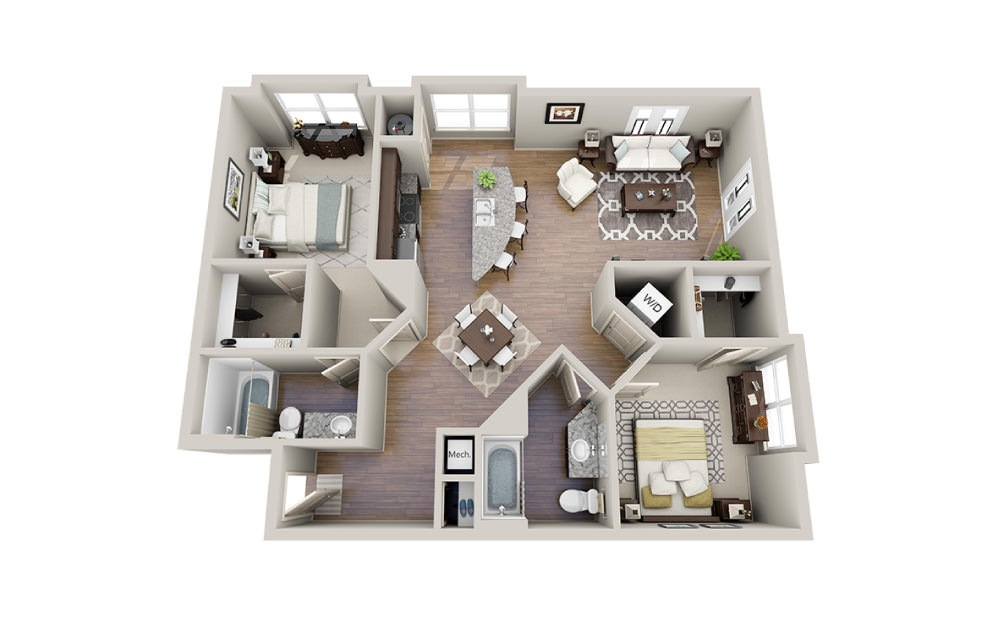 Neiman - 2 bedroom floorplan layout with 2 baths and 1111 to 1135 square feet.