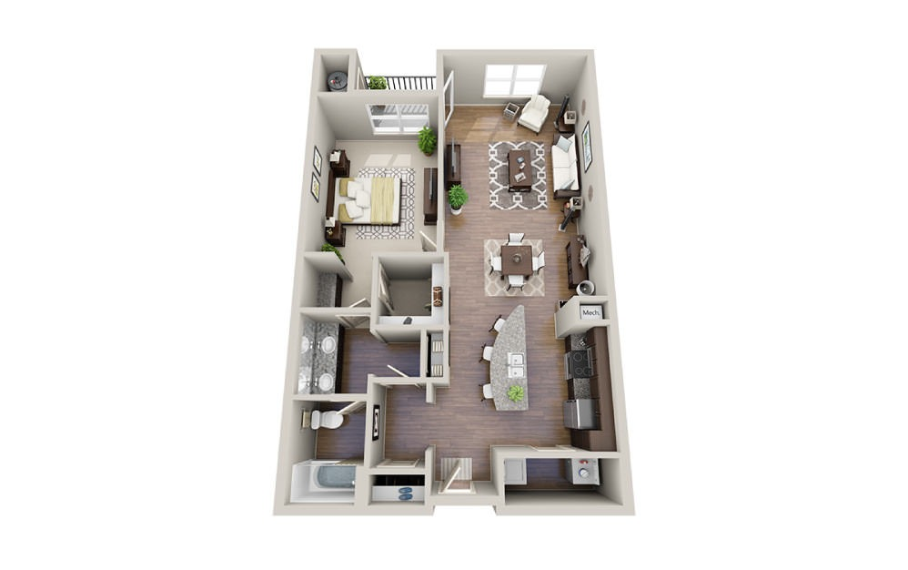 Paul-A - 1 bedroom floorplan layout with 1 bath and 889 to 951 square feet.