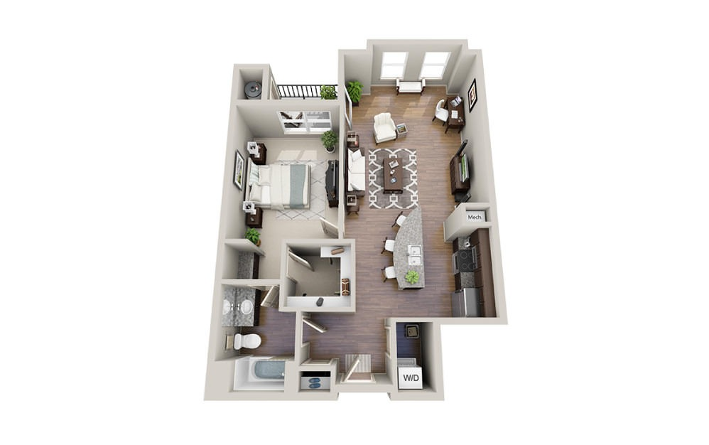 Paul - 1 bedroom floorplan layout with 1 bath and 889 to 1005 square feet.
