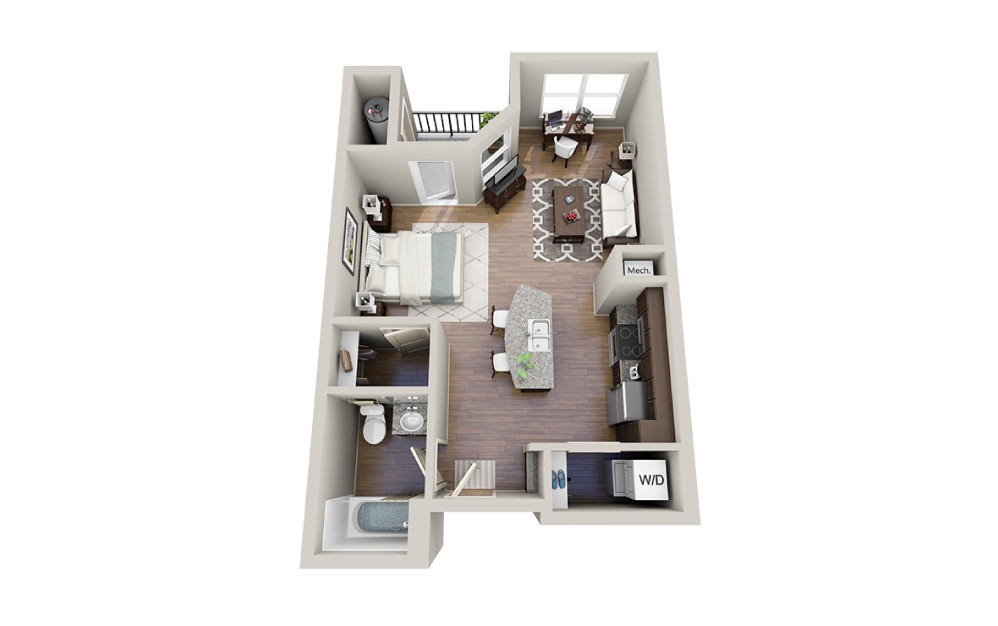 Simon - Studio floorplan layout with 1 bath and 591 square feet.