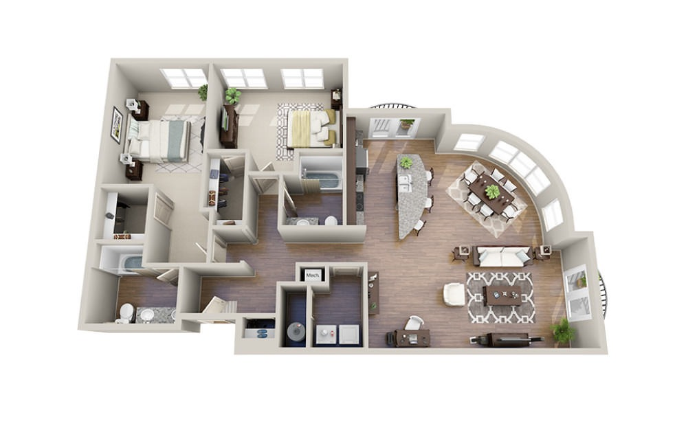 Thomas - 2 bedroom floorplan layout with 2 baths and 1545 square feet.