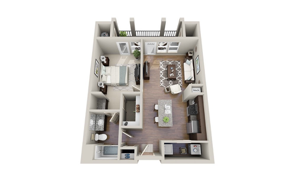Tiffany-A - 1 bedroom floorplan layout with 1 bath and 716 square feet.