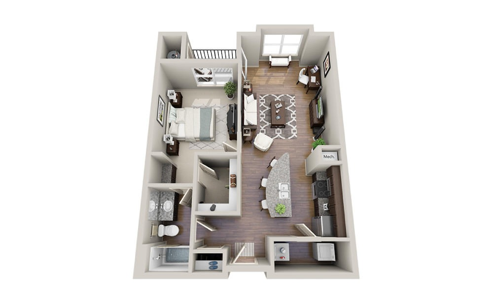 Tiffany - 1 bedroom floorplan layout with 1 bath and 776 to 789 square feet.