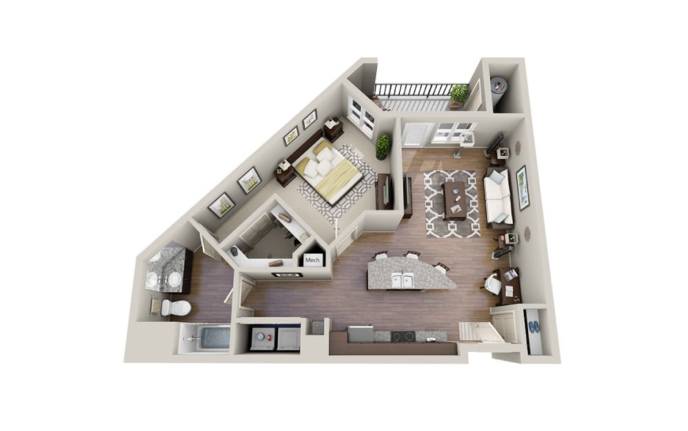 Yurman - 1 bedroom floorplan layout with 1 bath and 835 square feet.