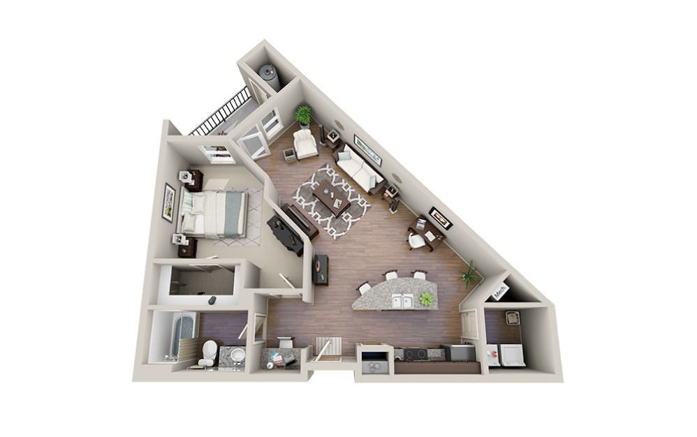 Yurman-A - 1 bedroom floorplan layout with 1 bath and 874 square feet.